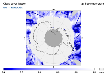 OMI - Cloud cover fraction of 27 September 2018