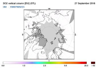 OMI - SO2 vertical column of 27 September 2018