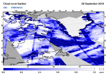 OMI - Cloud cover fraction of 28 September 2018