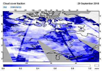 OMI - Cloud cover fraction of 29 September 2018