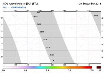 OMI - SO2 vertical column of 29 September 2018