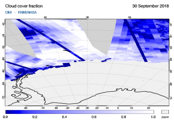OMI - Cloud cover fraction of 30 September 2018