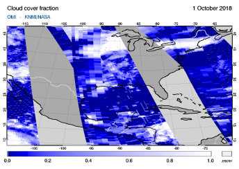 OMI - Cloud cover fraction of 01 October 2018