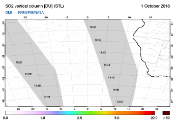 OMI - SO2 vertical column of 01 October 2018