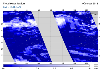 OMI - Cloud cover fraction of 03 October 2018