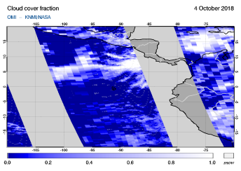 OMI - Cloud cover fraction of 04 October 2018