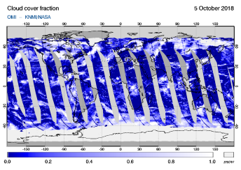 OMI - Cloud cover fraction of 05 October 2018