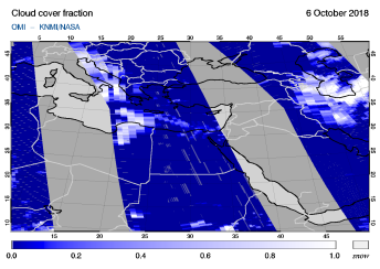 OMI - Cloud cover fraction of 06 October 2018