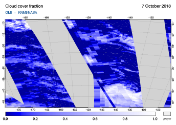 OMI - Cloud cover fraction of 07 October 2018