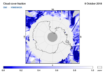 OMI - Cloud cover fraction of 08 October 2018