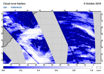 OMI - Cloud cover fraction of 09 October 2018