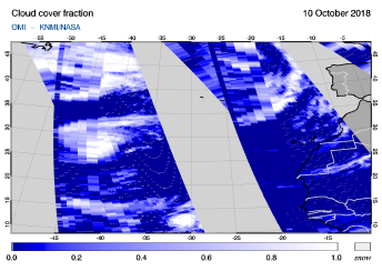 OMI - Cloud cover fraction of 10 October 2018