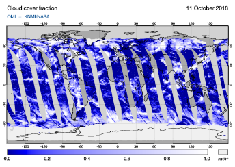 OMI - Cloud cover fraction of 11 October 2018