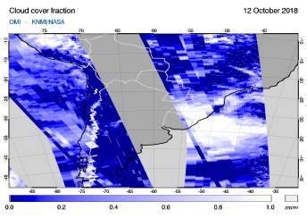 OMI - Cloud cover fraction of 12 October 2018