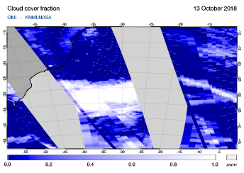 OMI - Cloud cover fraction of 13 October 2018