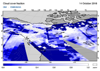 OMI - Cloud cover fraction of 14 October 2018