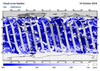 OMI - Cloud cover fraction of 16 October 2018