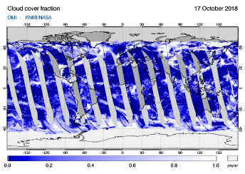 OMI - Cloud cover fraction of 17 October 2018