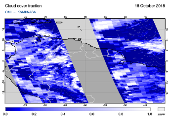OMI - Cloud cover fraction of 18 October 2018