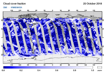 OMI - Cloud cover fraction of 20 October 2018