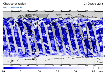 OMI - Cloud cover fraction of 21 October 2018