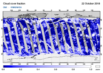 OMI - Cloud cover fraction of 22 October 2018