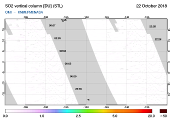 OMI - SO2 vertical column of 22 October 2018