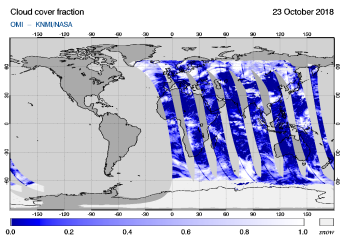 OMI - Cloud cover fraction of 23 October 2018