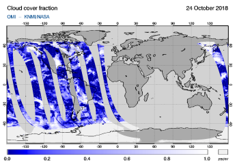 OMI - Cloud cover fraction of 24 October 2018