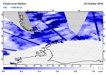 OMI - Cloud cover fraction of 25 October 2018