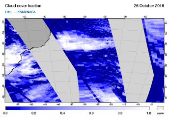 OMI - Cloud cover fraction of 26 October 2018