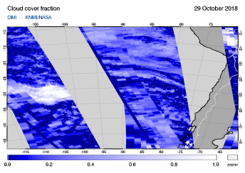 OMI - Cloud cover fraction of 29 October 2018