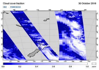 OMI - Cloud cover fraction of 30 October 2018