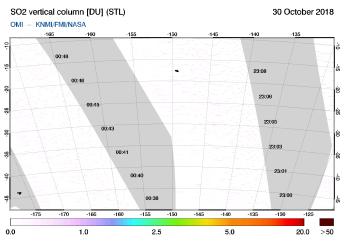 OMI - SO2 vertical column of 30 October 2018