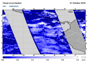 OMI - Cloud cover fraction of 31 October 2018