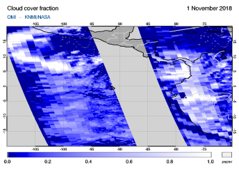 OMI - Cloud cover fraction of 01 November 2018