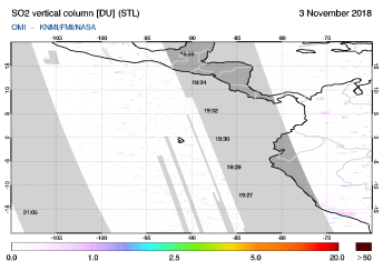 OMI - SO2 vertical column of 03 November 2018