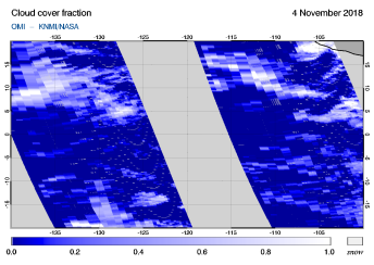 OMI - Cloud cover fraction of 04 November 2018