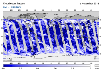 OMI - Cloud cover fraction of 05 November 2018