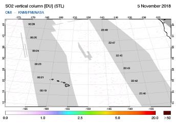 OMI - SO2 vertical column of 05 November 2018