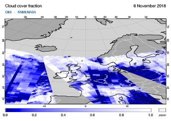OMI - Cloud cover fraction of 06 November 2018