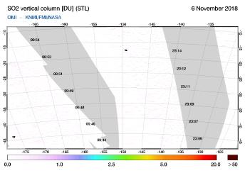 OMI - SO2 vertical column of 06 November 2018