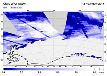 OMI - Cloud cover fraction of 08 November 2018