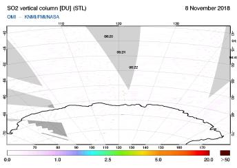 OMI - SO2 vertical column of 08 November 2018