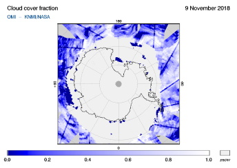 OMI - Cloud cover fraction of 09 November 2018