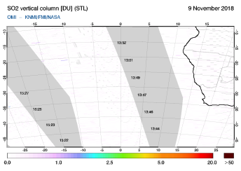 OMI - SO2 vertical column of 09 November 2018