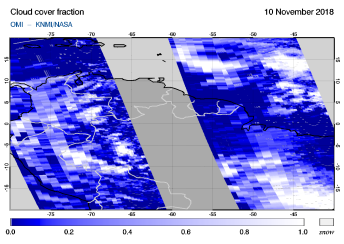 OMI - Cloud cover fraction of 10 November 2018