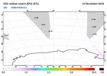 OMI - SO2 vertical column of 10 November 2018