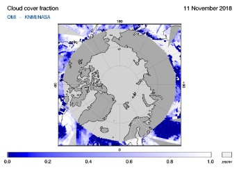 OMI - Cloud cover fraction of 11 November 2018