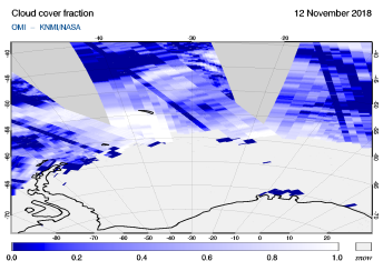 OMI - Cloud cover fraction of 12 November 2018